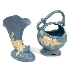 Weller Set of 2 Vintage Blue White Rosette Pottery